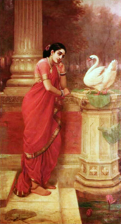 Ravi_Varma-Princess_Damayanthi_talking_with_Royal_Swan_about_Nala.jpg